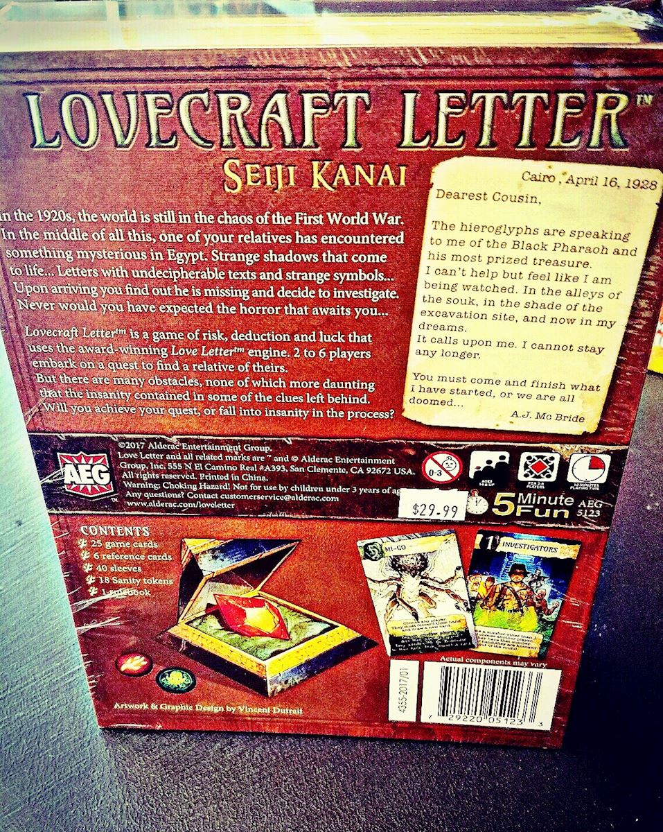 Mishap Games  Lovecraft Letter A World Of Hp Lovecraft